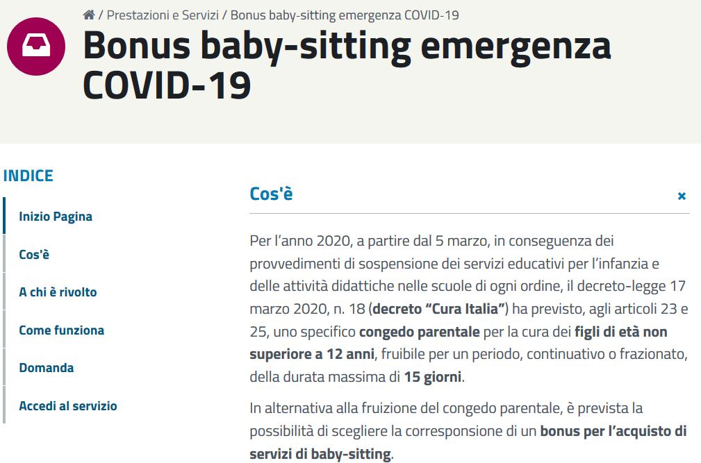 bonus baby sitting decreto rilancio Covid-19