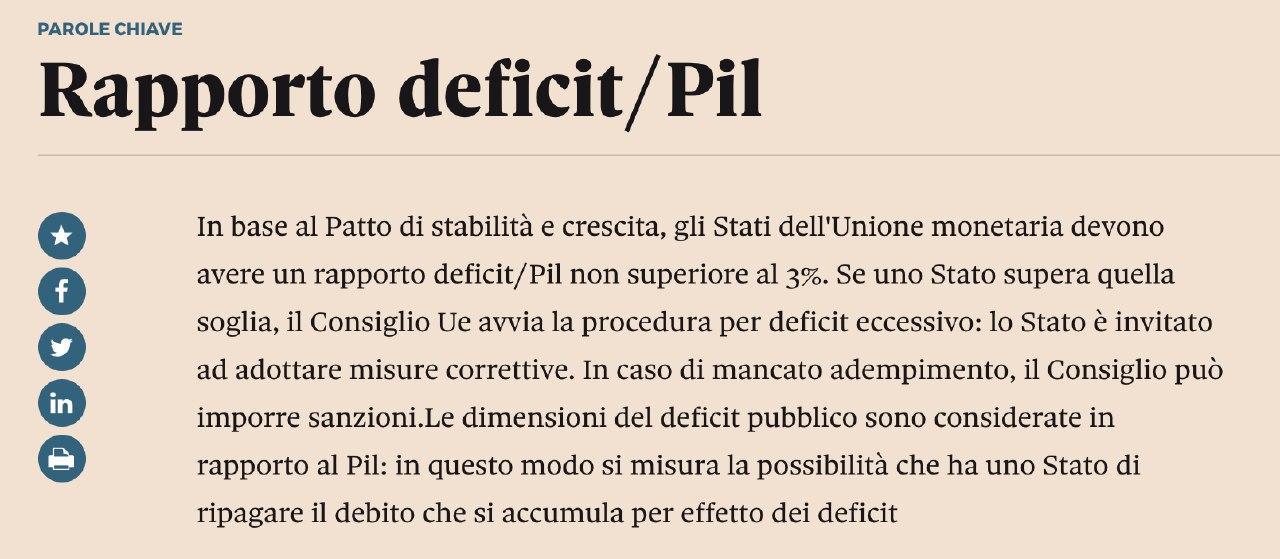rapporto deficit pil